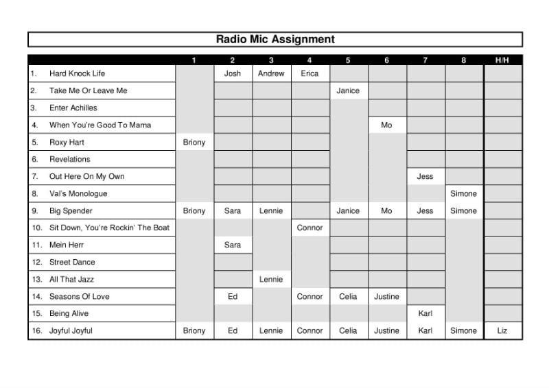 Radio Mic Assignment Grid